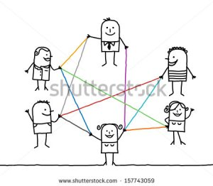 stock-vector-group-of-people-connected-by-color-lines-157743059