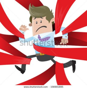 stock-vector-business-buddy-is-caught-up-in-red-tape-fantastic-illustration-of-business-buddy-clearly-very-156901895