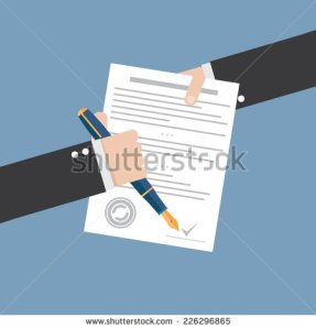 stock-vector-vector-agreement-icon-flat-illustration-hand-signing-contract-on-white-paper-226296865
